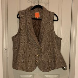 Modcloth Brown and Tan herringbone vest